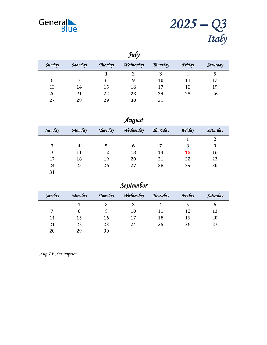 July, August, and September Calendar for Italy