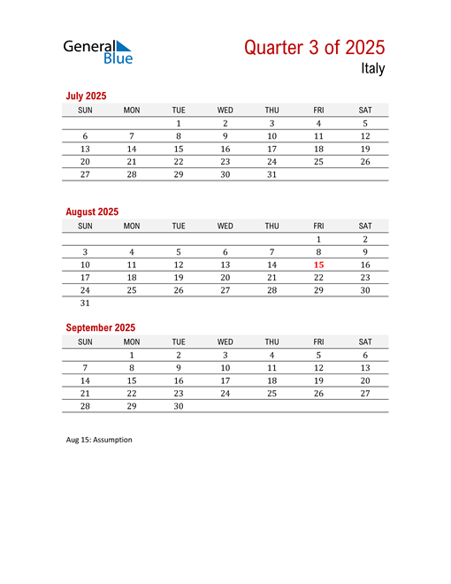 Printable Three Month Calendar for Italy