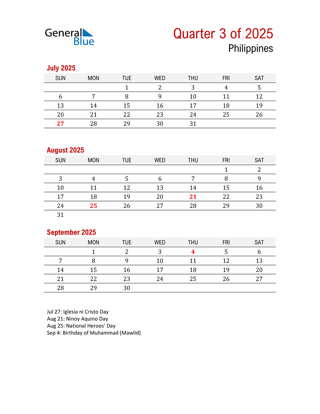 Printable Three Month Calendar for Philippines