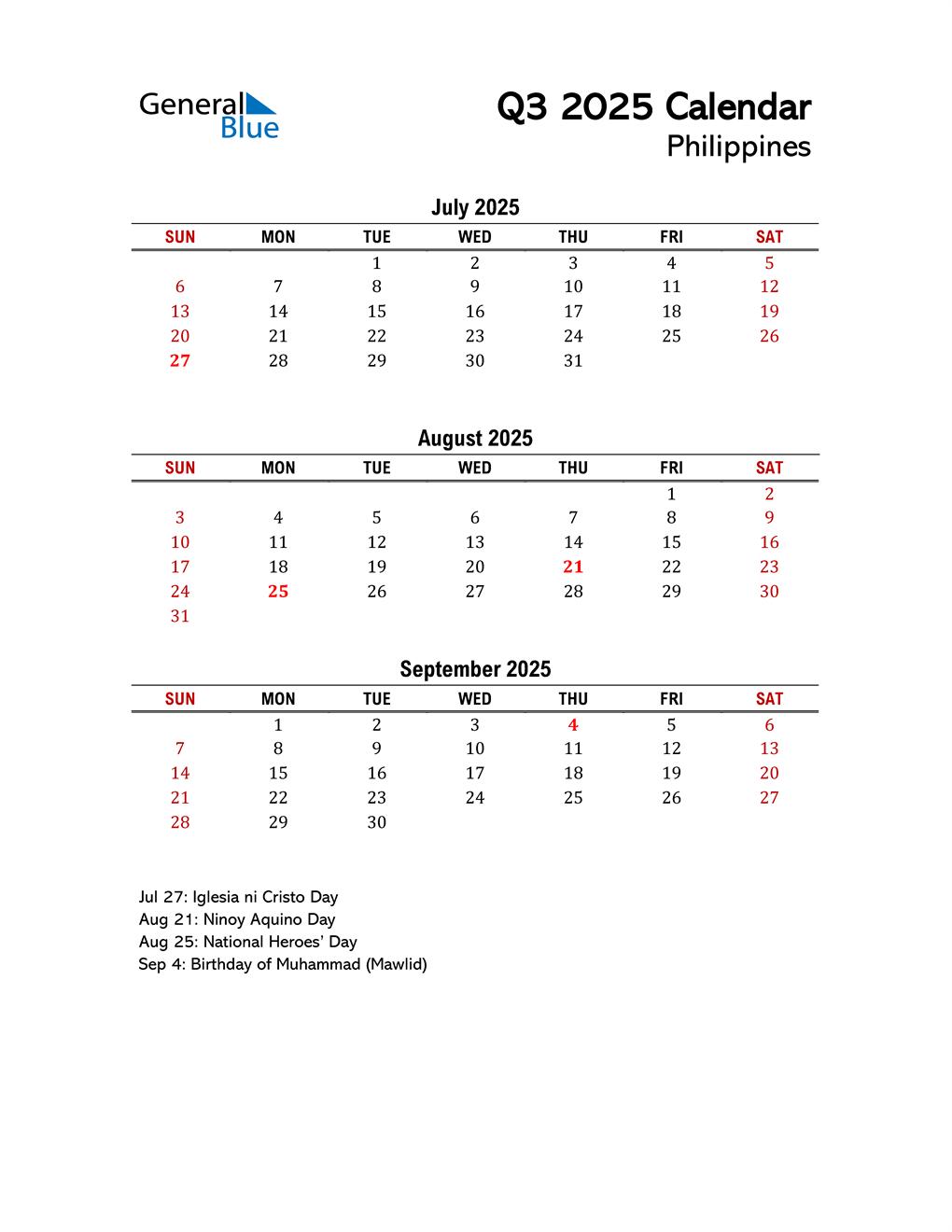 2025 Q3 Calendar with Holidays List