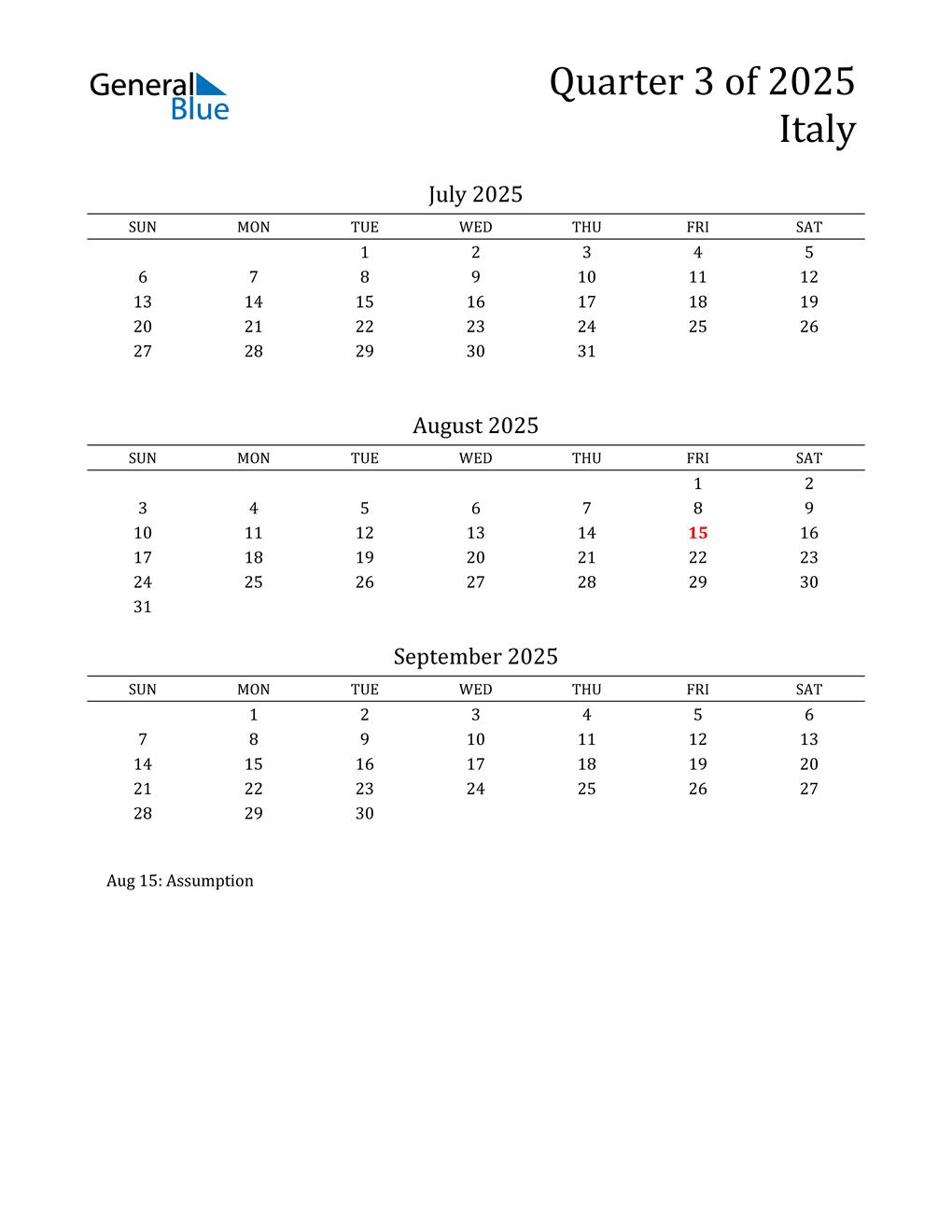 2025 Italy Quarterly Calendar