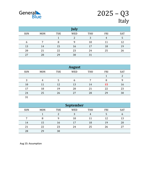 Three-Month Planner for Q3 2025 with Holidays