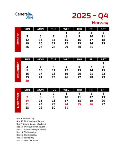 Q4 2025 Calendar with Holidays