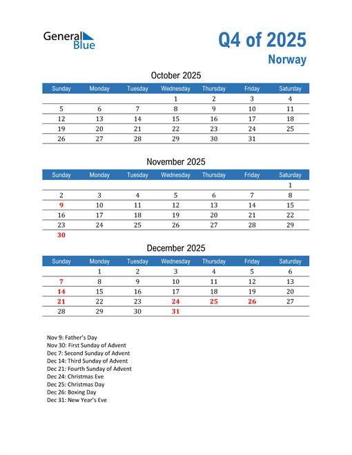 Norway 2025 Quarterly Calendar