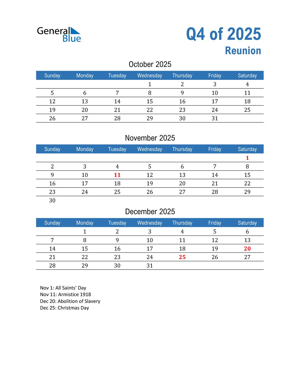 Reunion 2025 Quarterly Calendar
