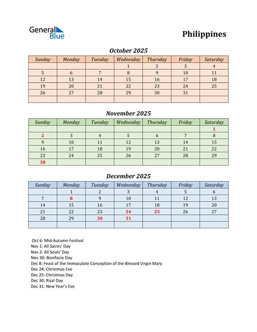 Q4 2025 Holiday Calendar - Philippines