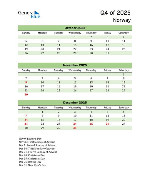 Quarterly Calendar 2025 with Norway Holidays