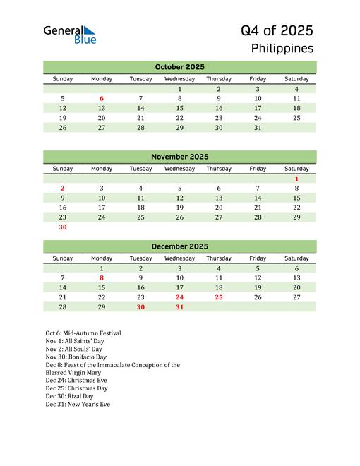 Quarterly Calendar 2025 with Philippines Holidays