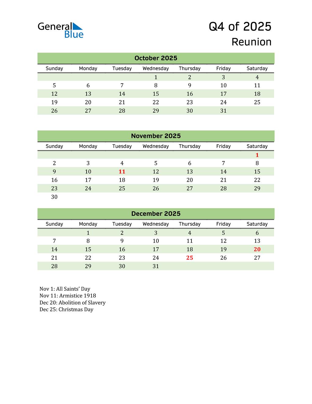 Quarterly Calendar 2025 with Reunion Holidays