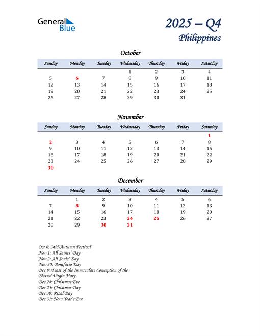 October, November, and December Calendar for Philippines