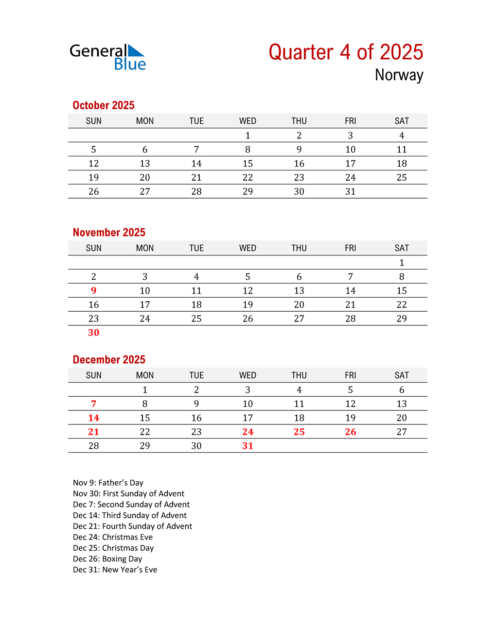 Printable Three Month Calendar for Norway