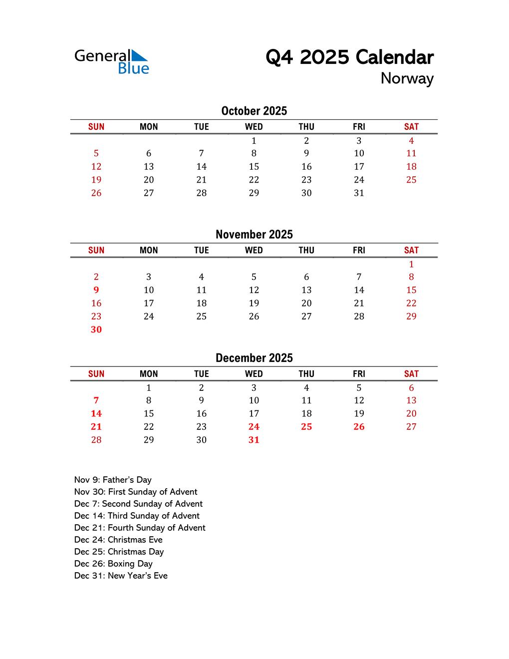 2025 Q4 Calendar with Holidays List
