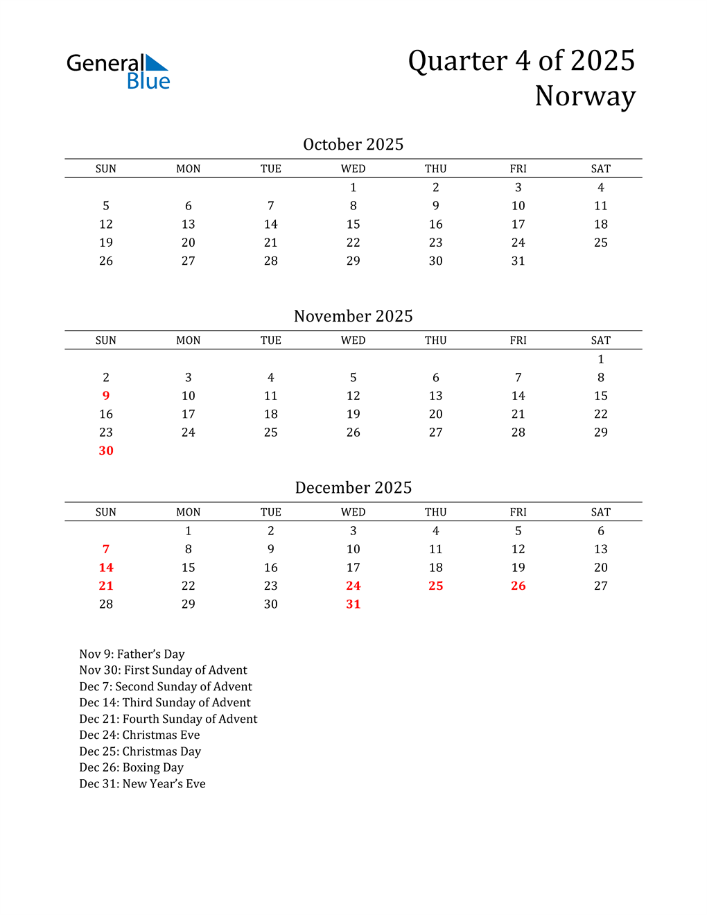 2025 Norway Quarterly Calendar