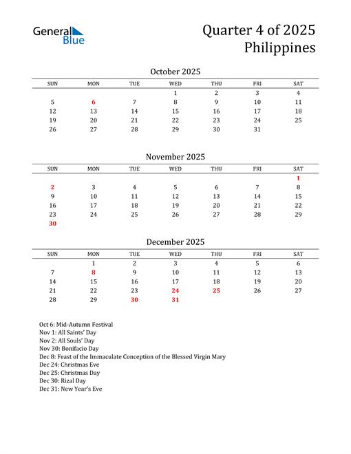 2025 Philippines Quarterly Calendar