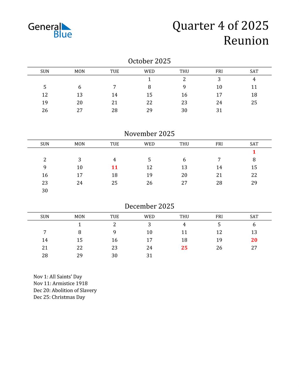 2025 Reunion Quarterly Calendar