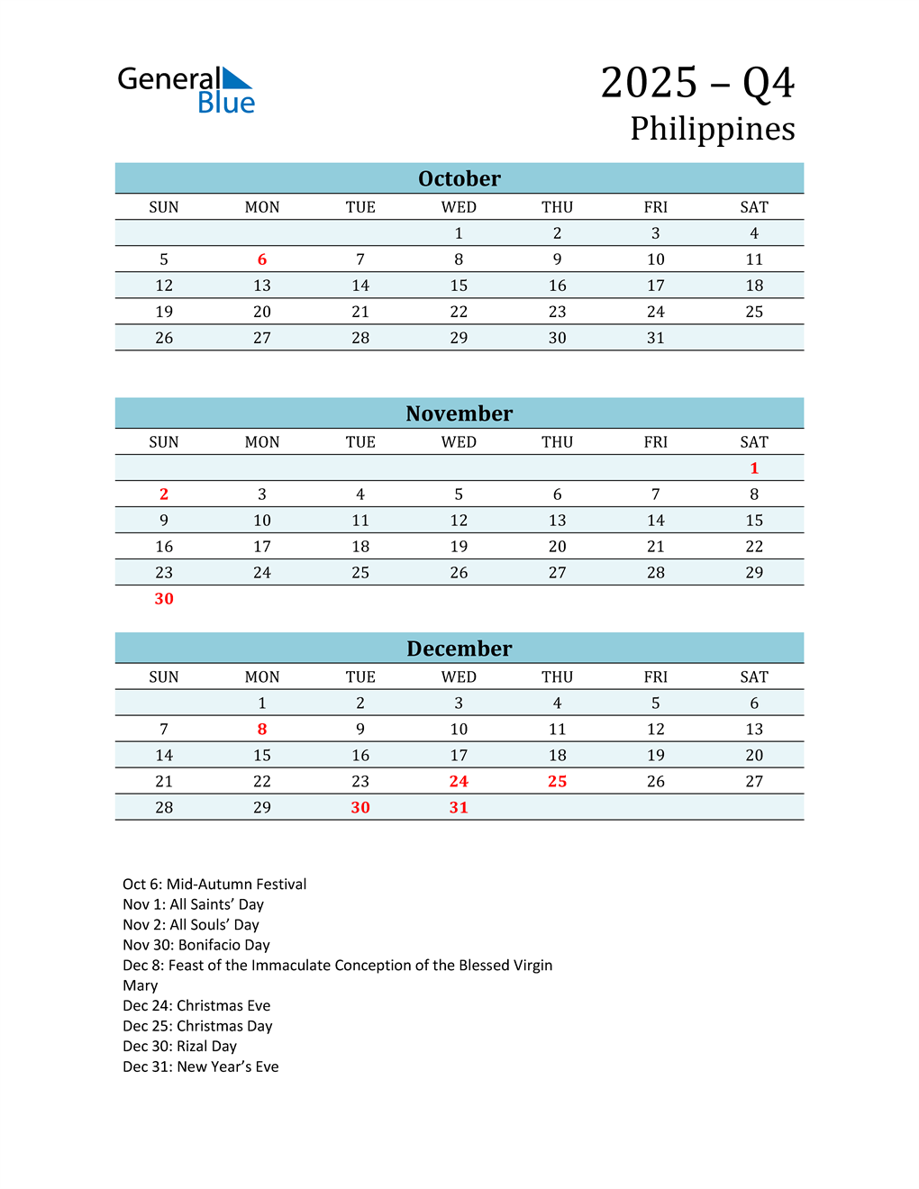 Three-Month Planner for Q4 2025 with Holidays