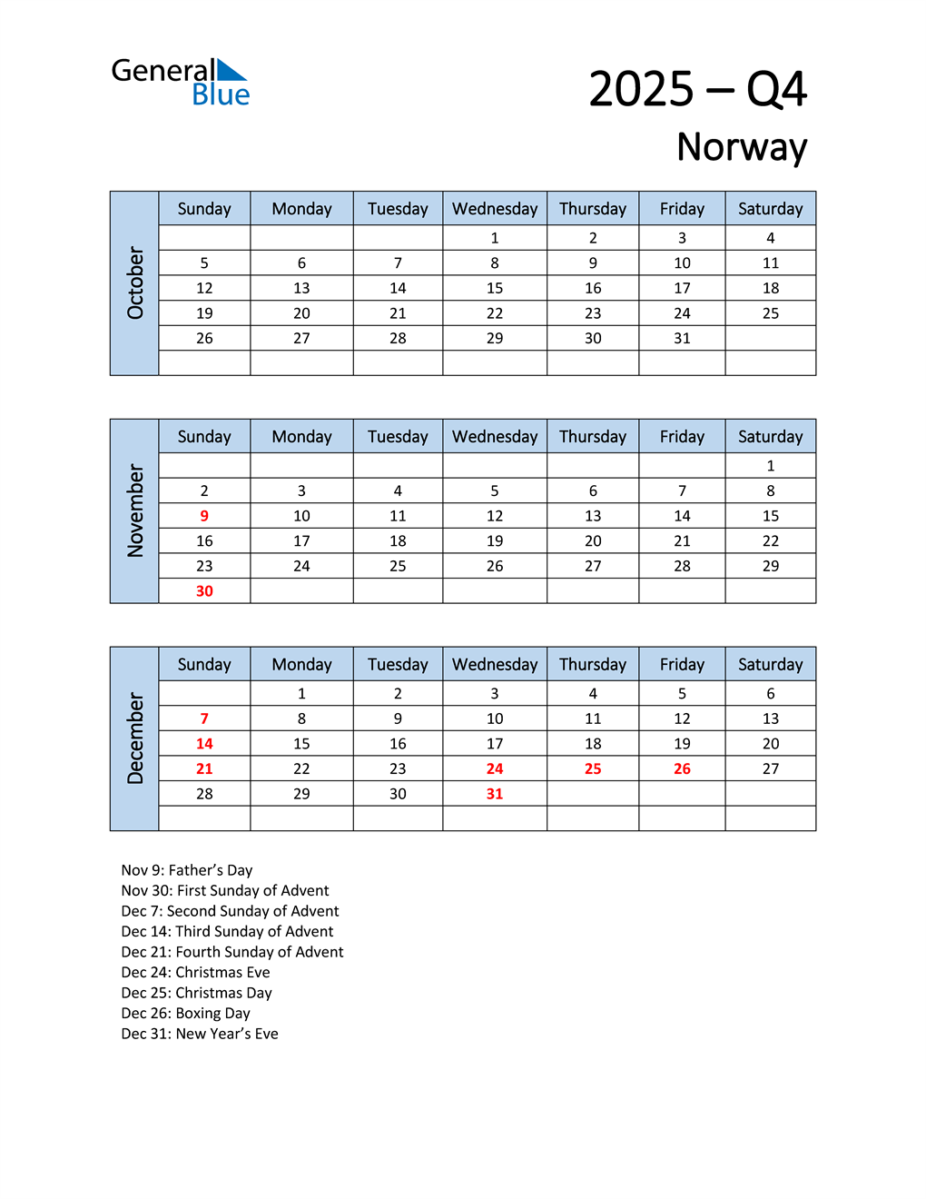 Free Q4 2025 Calendar for Norway