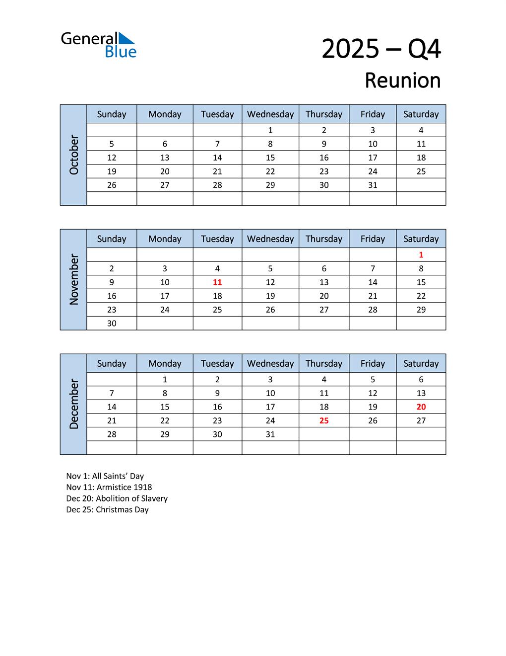 Free Q4 2025 Calendar for Reunion