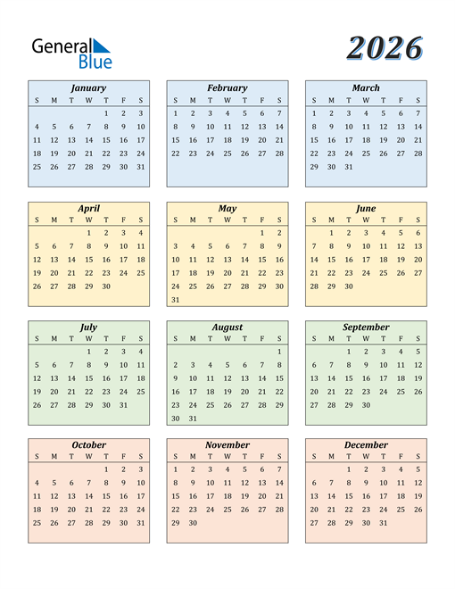 Image of 2026 2026 Calendar with Color