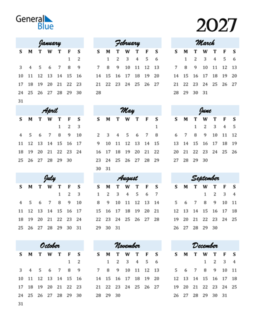 Calendar 2027 Free Download