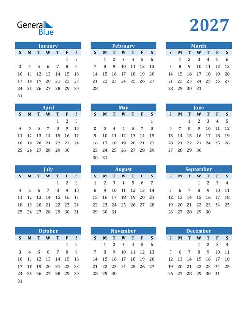 2027 Year Calendar