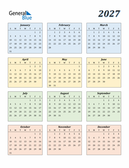 Image of 2027 2027 Calendar with Color