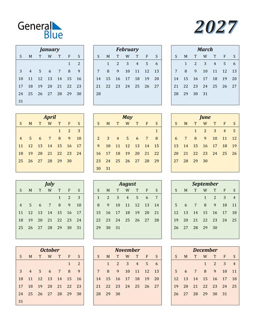 Calendar for 2027