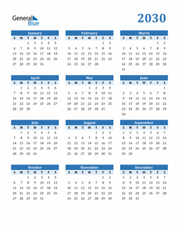 Image of 2030 2030 Calendar Blue with No Borders