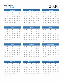 Image of 2030 2030 Calendar