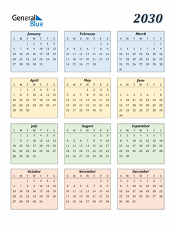 Image of 2030 2030 Calendar with Color