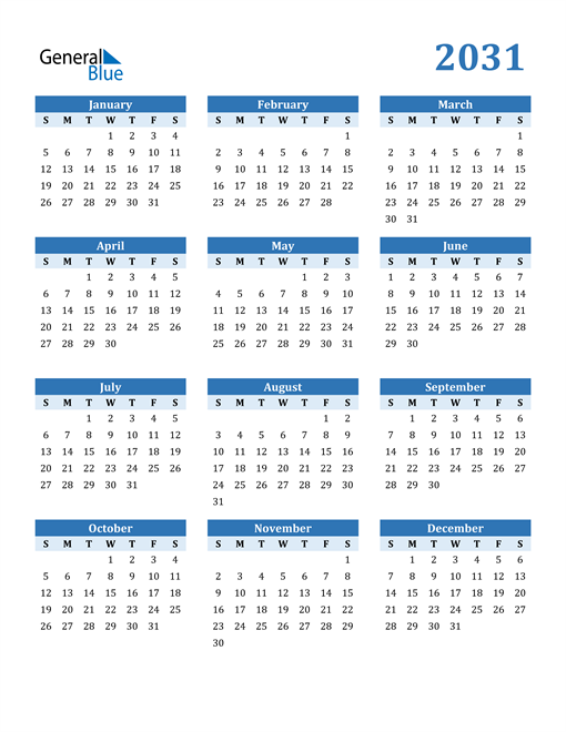 Image of 2031 2031 Calendar Blue with No Borders