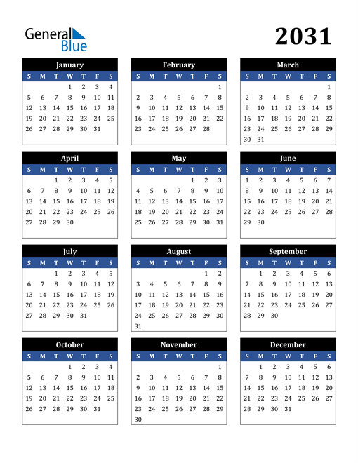Image of 2031 2031 Calendar Stylish Dark Blue and Black