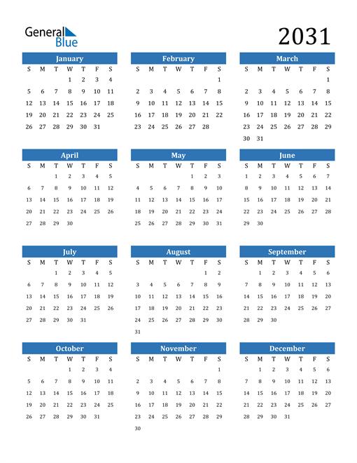 Image of 2031 2031 Calendar