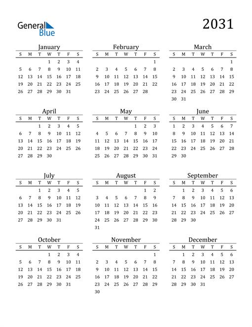 Image of 2031 2031 Printable Calendar Classic