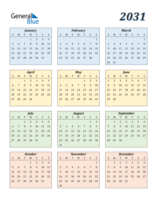 Image of 2031 2031 Calendar with Color