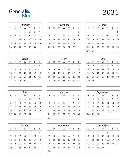 Image of 2031 2031 Calendar Streamlined