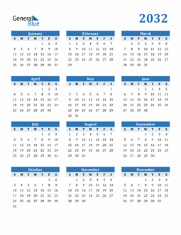 Image of 2032 2032 Calendar Blue with No Borders