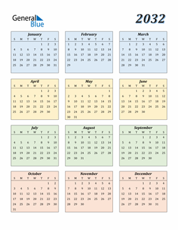 Image of 2032 2032 Calendar with Color