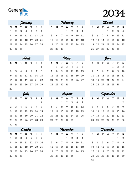 Image of 2034 2034 Calendar Cool and Funky