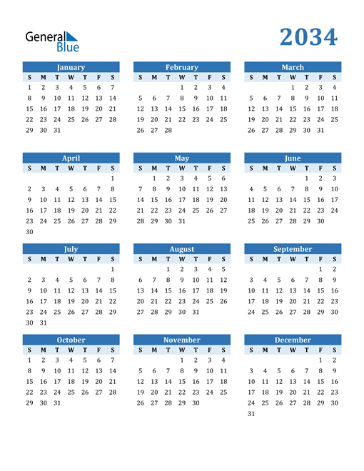 Image of 2034 2034 Calendar Blue with No Borders
