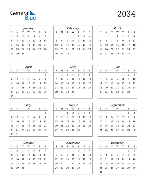 Image of 2034 2034 Calendar Streamlined