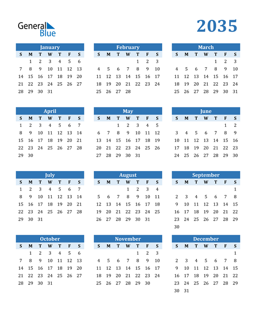 Image of 2035 2035 Calendar Blue with No Borders