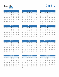Image of 2036 2036 Calendar Blue with No Borders