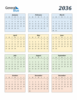 Image of 2036 2036 Calendar with Color
