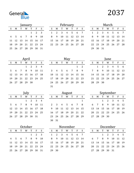 Image of 2037 2037 Printable Calendar Classic