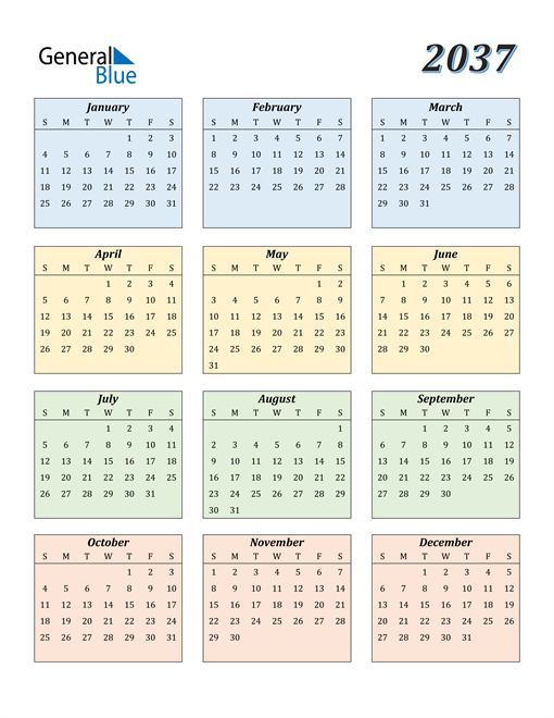 Image of 2037 2037 Calendar with Color