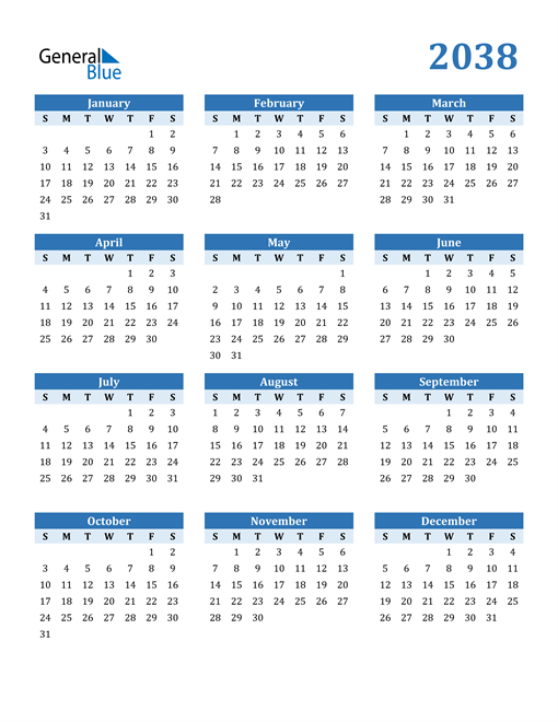 Image of 2038 2038 Calendar Blue with No Borders