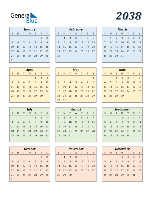 Image of 2038 2038 Calendar with Color