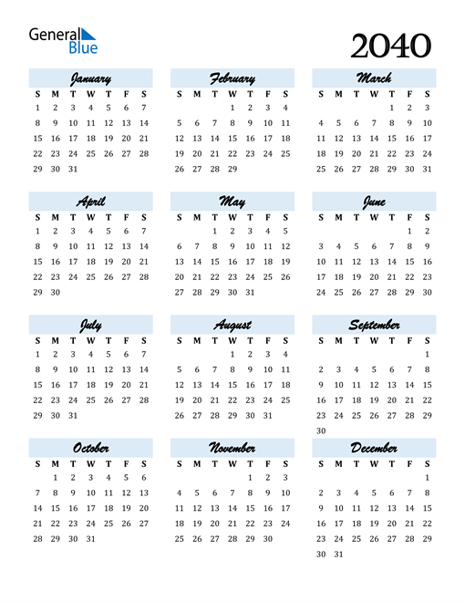 Image of 2040 2040 Calendar Cool and Funky