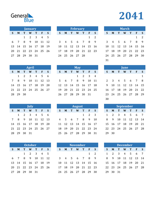 Image of 2041 2041 Calendar Blue with No Borders